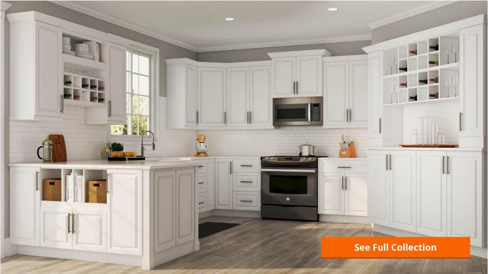 Hampton Bay Hampton Assembled 36x34.5x24 In. Sink Base Kitchen Cabinet In Satin White-KSB36-SW