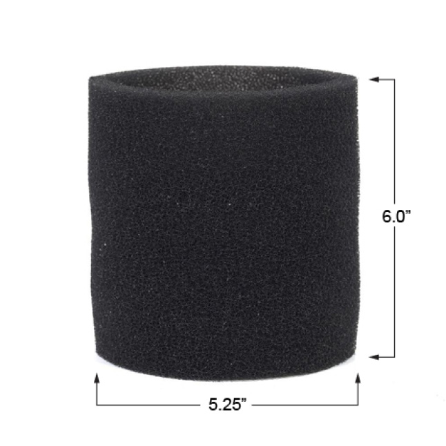 The foam sleeve is 6 in. tall and has a 5.25 in. diameter.