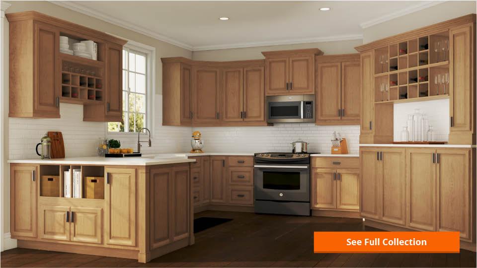 Hampton Wall Kitchen Cabinets In Medium Oak Base