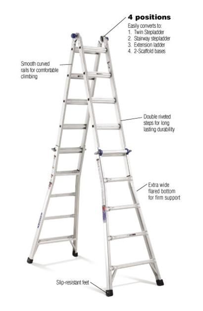 Werner 22 ft. Reach Aluminum Telescoping Multi-Position Ladder with ...