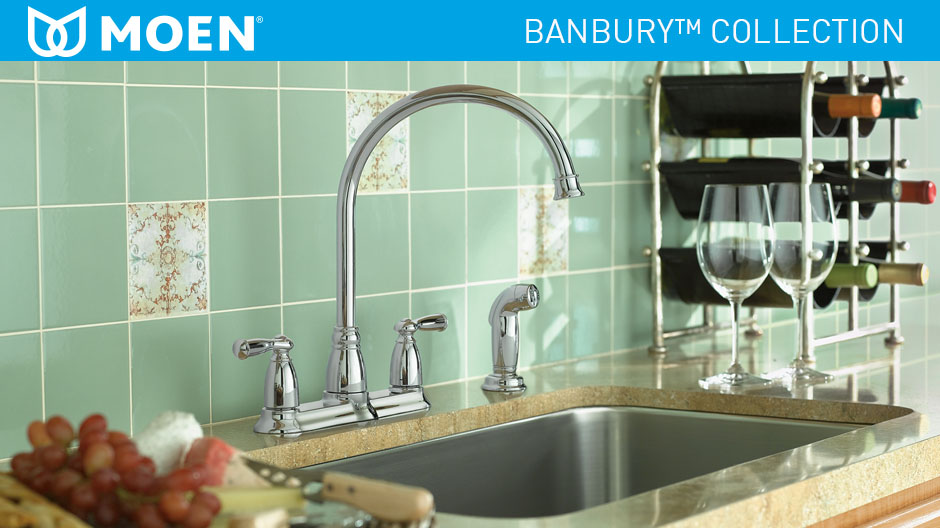 MOEN Banbury High-Arc 2-Handle Standard Kitchen Faucet with Side ...