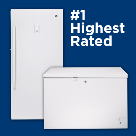 Graphic that shows 2 freezers and says #1 Highest Rated