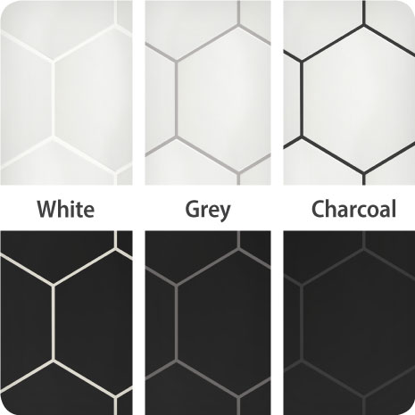 These black and white hexagon tiles finished with white, grey and charcoal grout show the impact different colors can have on your tile installation.
