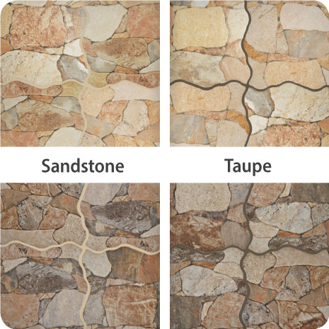 These Attica Beige and Attica Gris tiles finished with sandstone and taupe grout show the impact different colors can have on your tile installation.