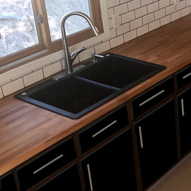 Your Hardwood Reflections Beech Butcher Block can be installed with both an inset sink and an under-mount sinks