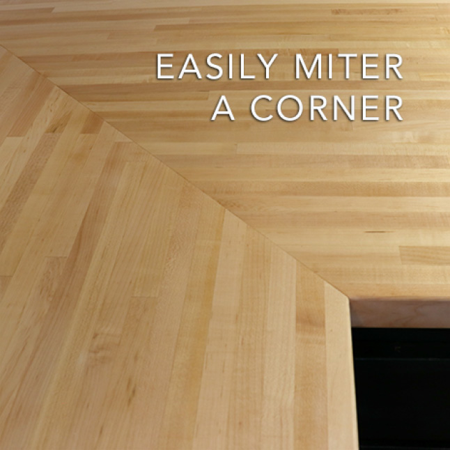 Choose to miter or butt joint a corner or extend the length or width by simply joining two Hardwood Reflections Maple Butcher Blocks together