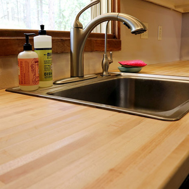 Your Hardwood Reflections Maple Butcher Block can be installed with both an inset sink and an under-mount sinks