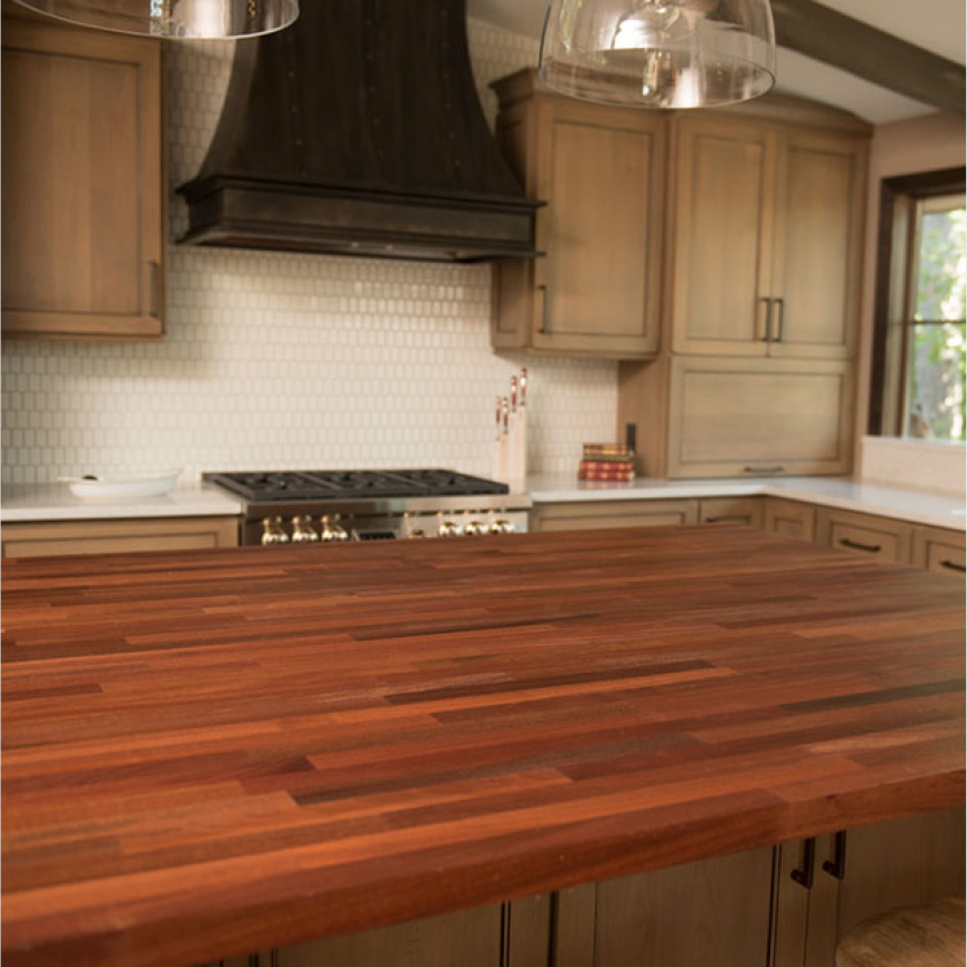 Hardwood Reflections Unfinished Sapele Butcher Block Countertop Installed in a Kitchen