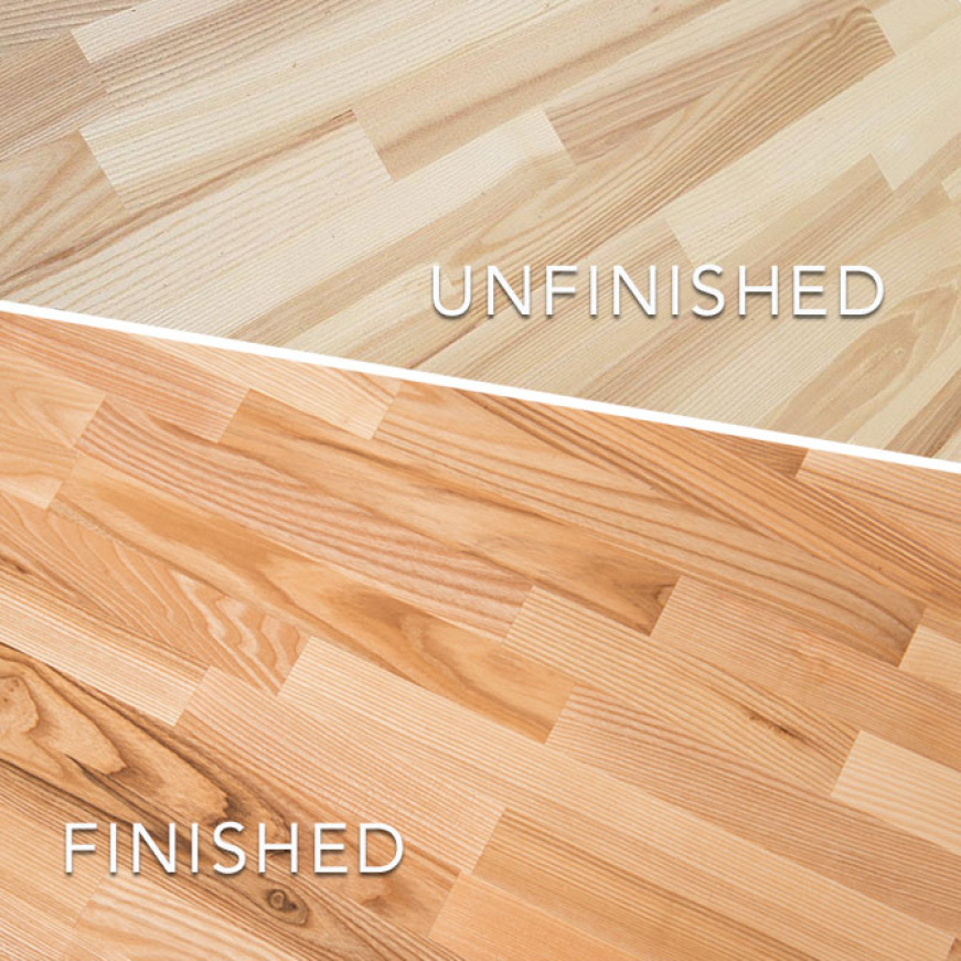 Common Unfinished Ash Butcher Block sealing and finishing options are mineral oils or conditioners and polyurethane based lacquers