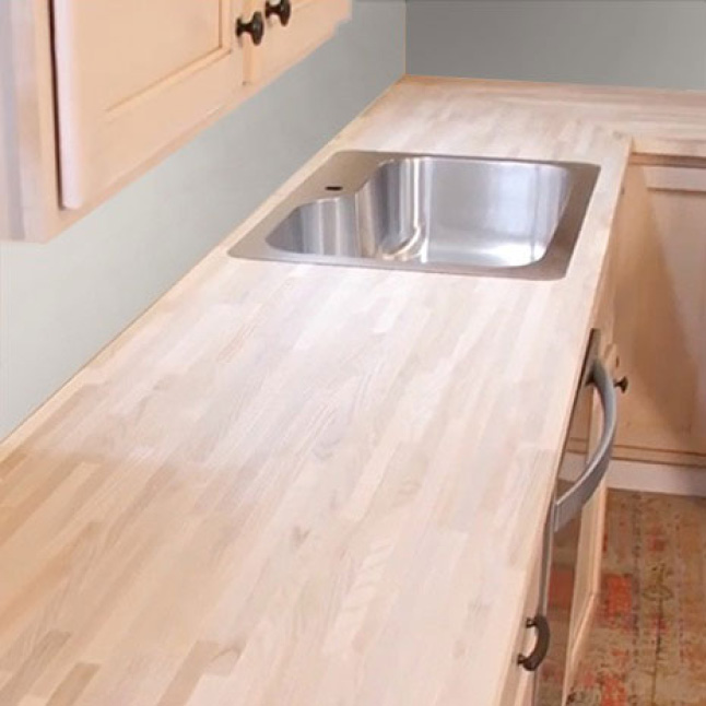 Your Hardwood Reflections Ash Butcher Block can be installed with both an inset sink and an under-mount sinks