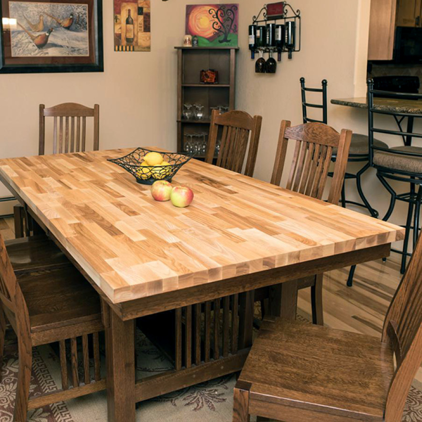 Hardwood Reflections Unfinished Ash Butcher Block Countertop Installed as a Kitchen Table Top