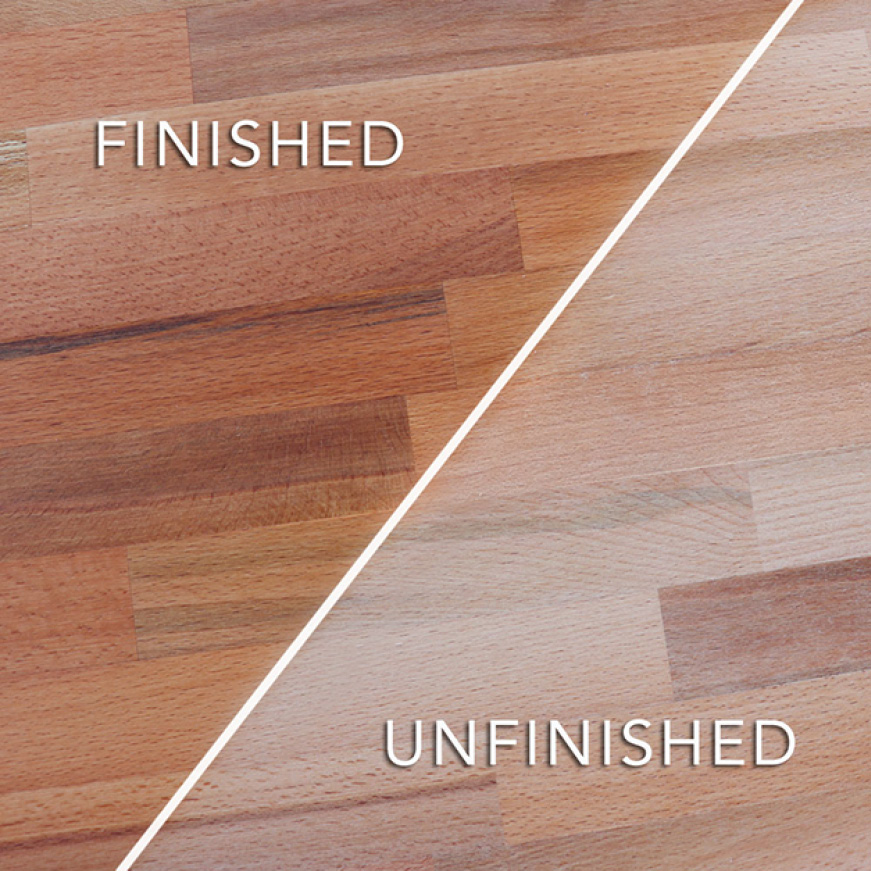 Common Unfinished Beech Butcher Block sealing and finishing options are mineral oils or conditioners and polyurethane based lacquers