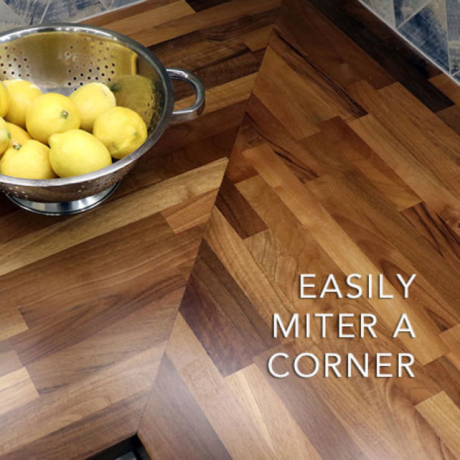 You can miter or butt joint a corner or extend the length or width by simply joining two Hardwood Reflections European Walnut Butcher Blocks together