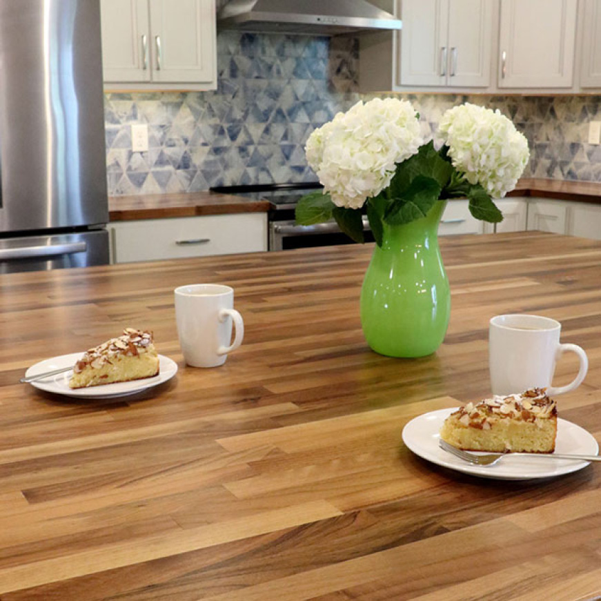 Hardwood Reflections Unfinished European Walnut Butcher Block Countertop Installed in a Kitchen