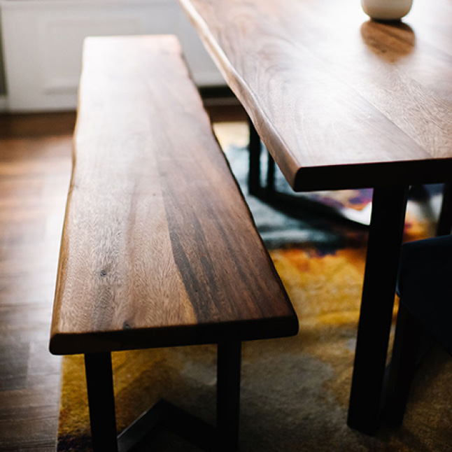 Your Hardwood Reflections Oiled Acacia with Live Edge Butcher Block can be installed as a kitchen island or a table top.