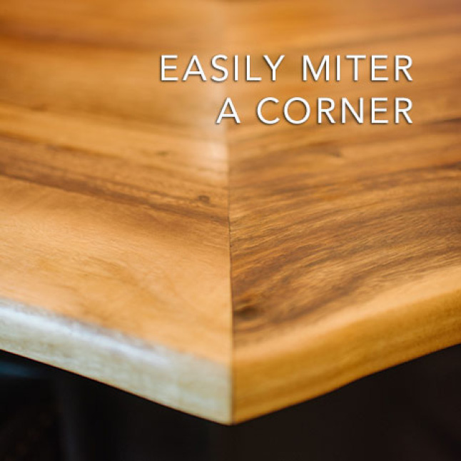 Choose to miter or butt joint a corner or extend the length or width by simply joining two Hardwood Reflections Acacia Butcher Blocks together