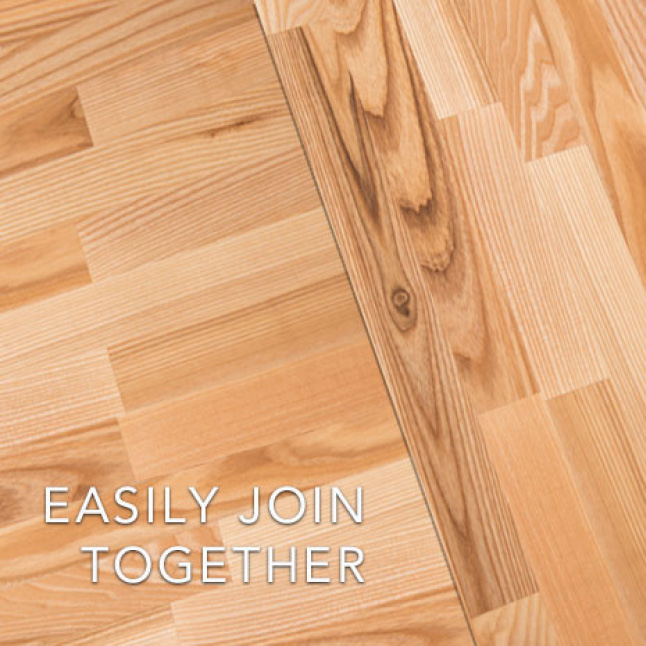 Choose to miter or butt joint a corner or extend the length or width by simply joining two Hardwood Reflections Ash Butcher Blocks together