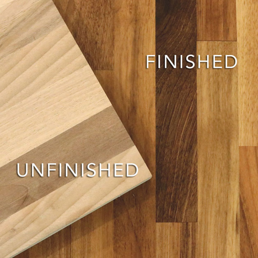 Common Unfinished European Walnut Butcher Block sealing and finishing options are mineral oils or conditioners and polyurethane based lacquers