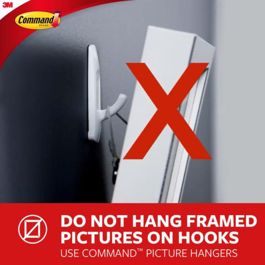 Do not hang frames on picture hooks
