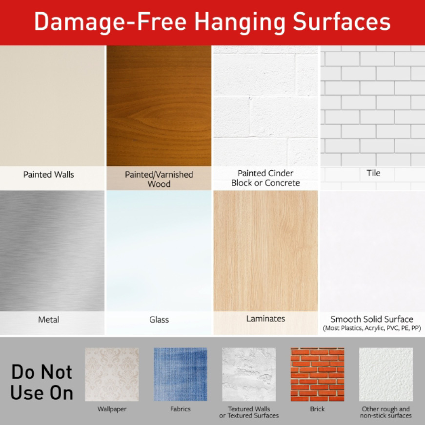 Painted, stained or varnished wood, glass, tile, metal, painted drywall and other smooth surfaces
