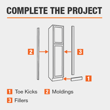 To complete the kitchen cabinet project, don't forget toe kicks, moldings, and fillers.