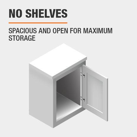 This kitchen cabinet features no shelves for maximum storage.