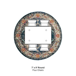 A round works nicely with a square table and chairs adjacent or around it.