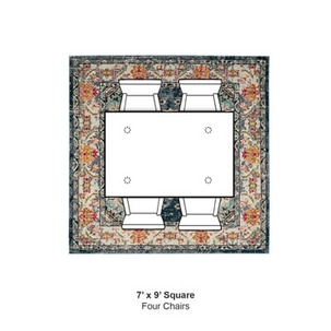 A square rug fits nicely with your dining table with two chairs side by side.