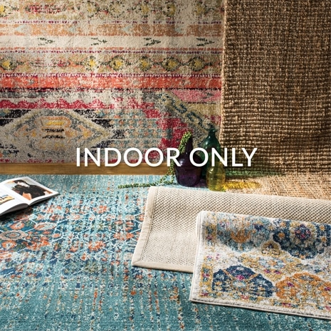 Indoor rugs are best placed in the living room, bed room or office and away from areas that may stain or dampen the rug