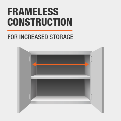 Frameless construction offers more storage