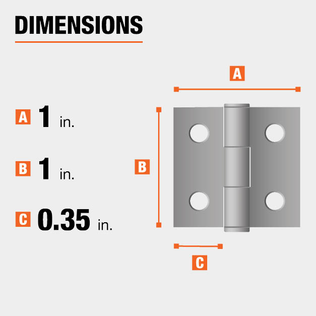 1 inch height x 1 inch width x 0.35 inch leaf width hinge dimensions