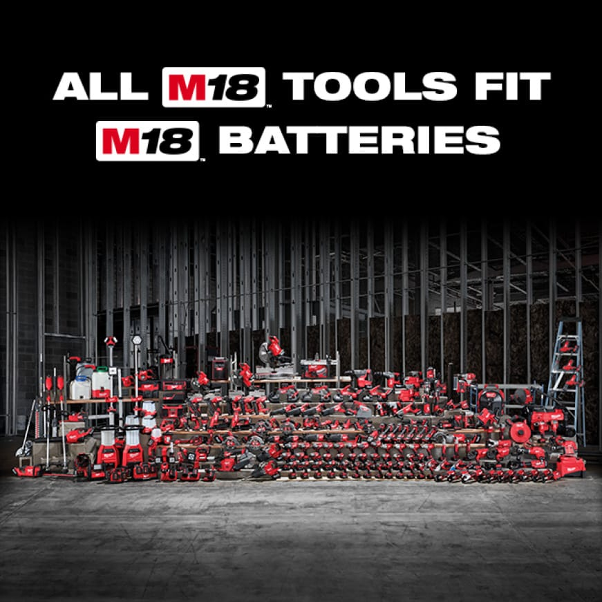 The Milwaukee M18 System offers over 200 cordless tools on one battery platform.