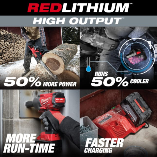 Four Milwaukee tools utilizing M18 REDLITHIUM HIGH OUTPUT Batteries on various jobsites