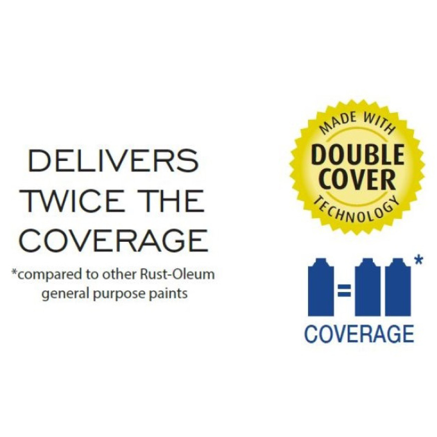 Delivers twice the coverage compared to other Rust-Oleum general purpose paints