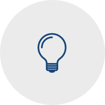 Simple, blue icon of a light bulb that represents the range hood lighting.