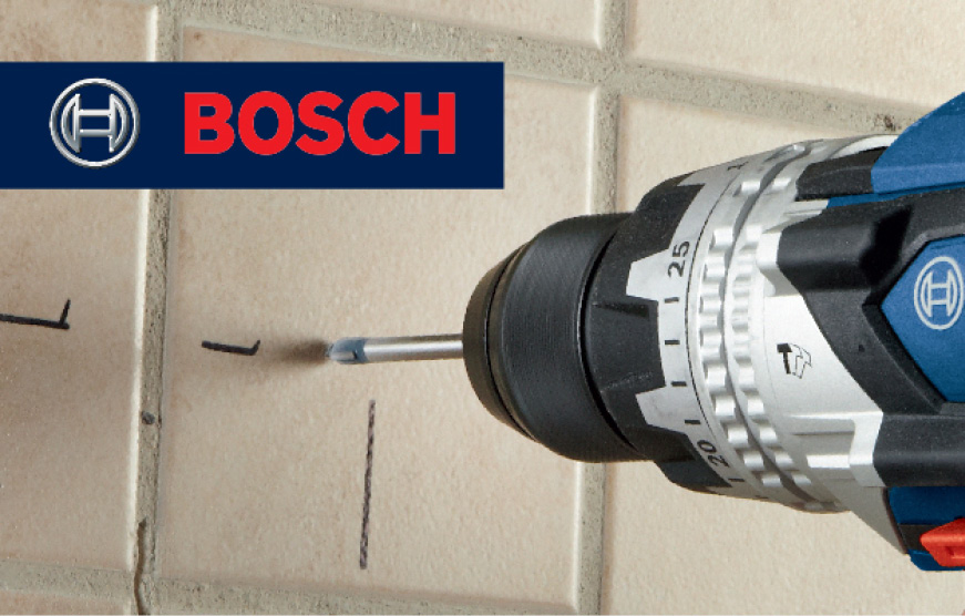 Bosch Glass and Tile bit drilling into tile wall