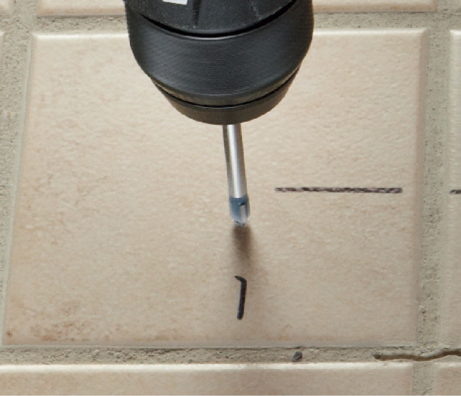 Bosch Glass and Tile bit drilling into tile