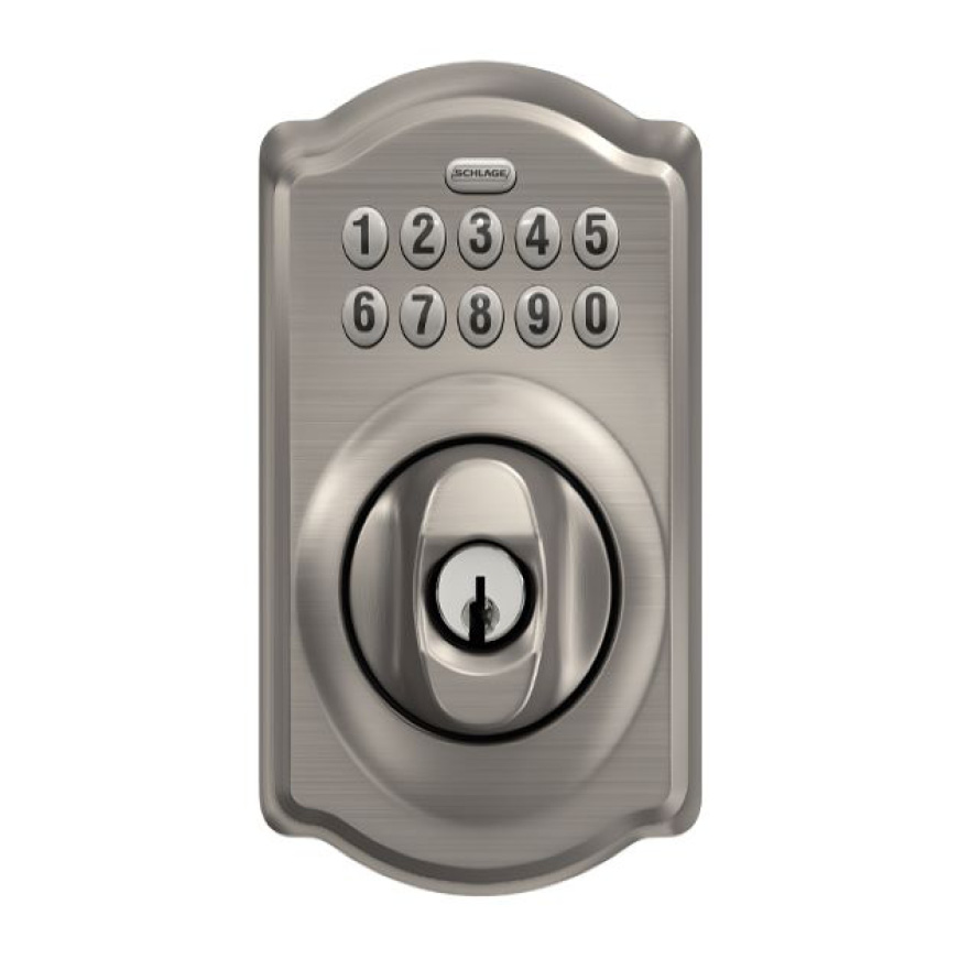 Schlage Camelot satin nickel keypad deadbolt.