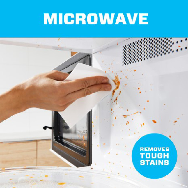 Remove tough stains and clean microwave with Mr. Clean magic erasers