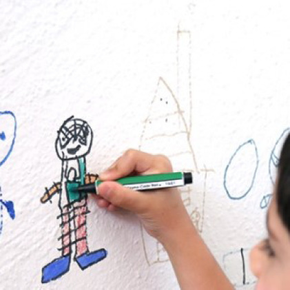 Clean marker and drawings off the walls with Mr. Clean magic erasers