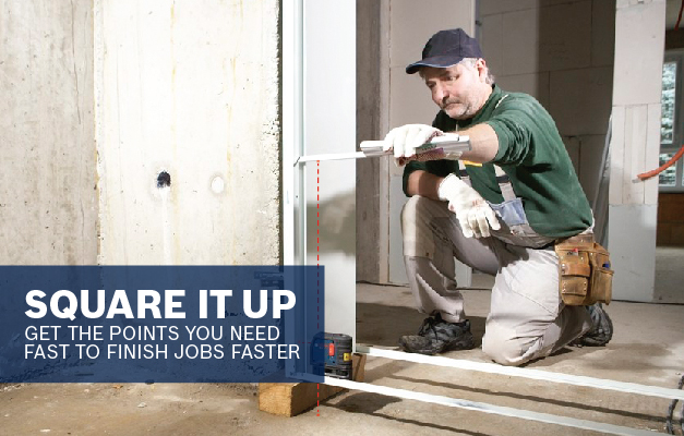 Bosch GPL3 being used to square up a wall.