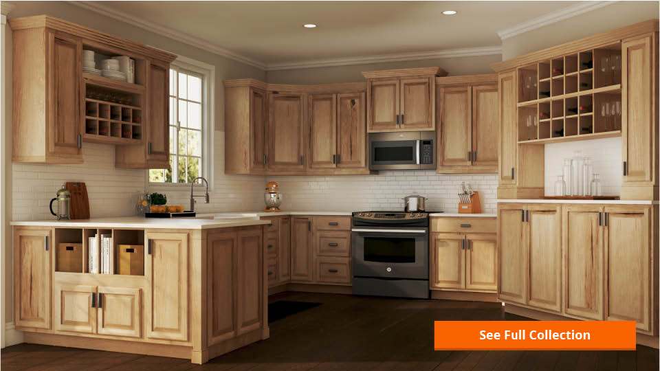 hampton wall kitchen cabinets in natural hickory - Hickory Kitchen Cabinets