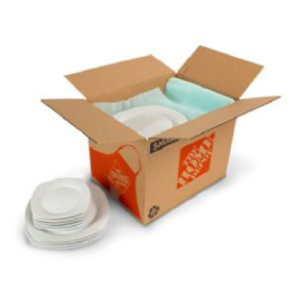 Small moving boxes with foam sheets protecting dishes