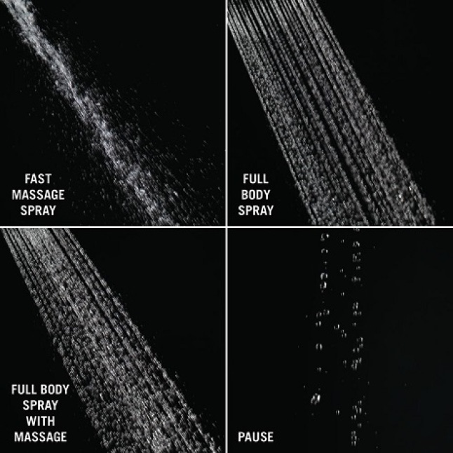 Image shows four up-close images of different spray settings on a black background: Full spray, Full spray with Massage, Fast Massage and Pause