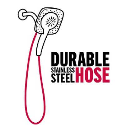 "Image is a black and white line drawing of an In2ition hand shower with hose highlighted in red with copy ""durable stainless steel hose"""
