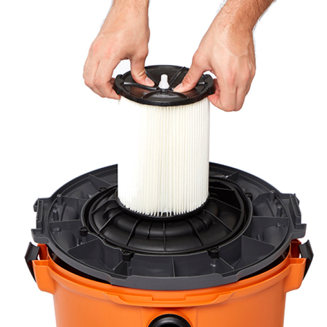 Place filter on top. Press down near the center of the filter with both thumbs until the rubber opening of the filter locks in securely.