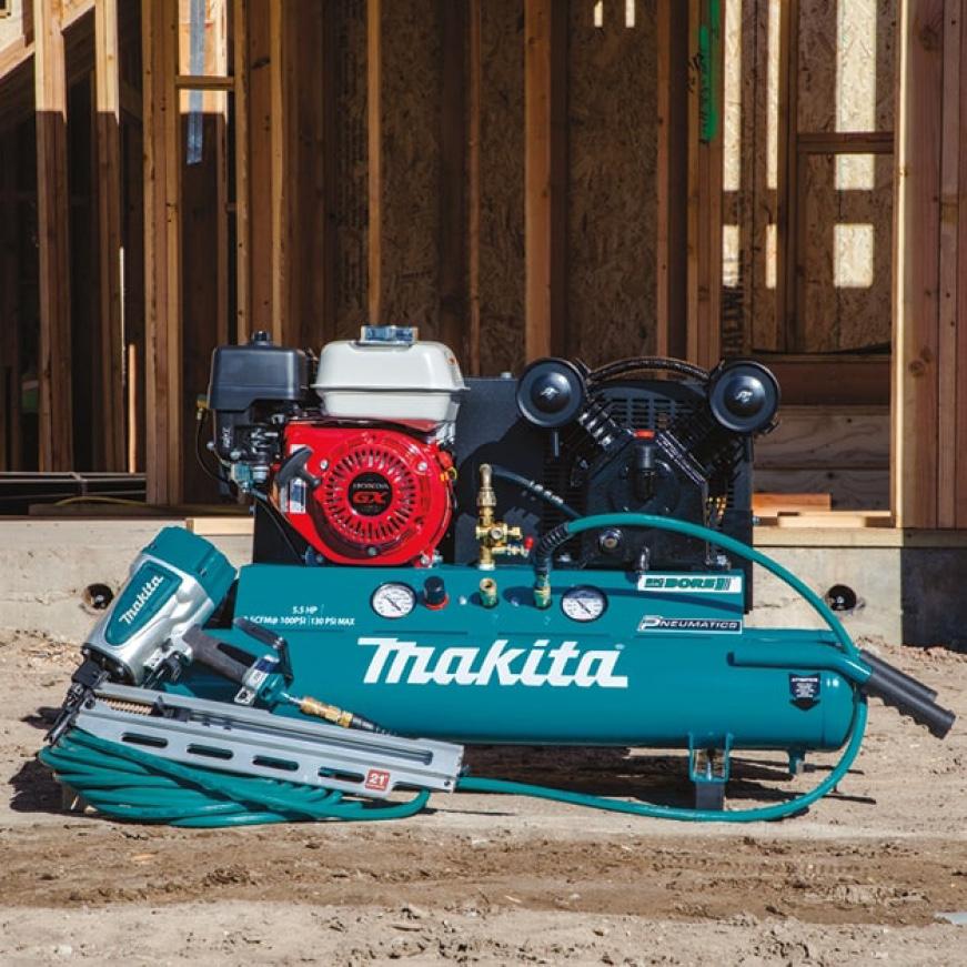 Makita portable air compressor with nail gun and hose