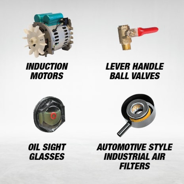 professional air compressor with induction motors, level handl ball valves, oil sight glasses, and automotive style industrial air filters