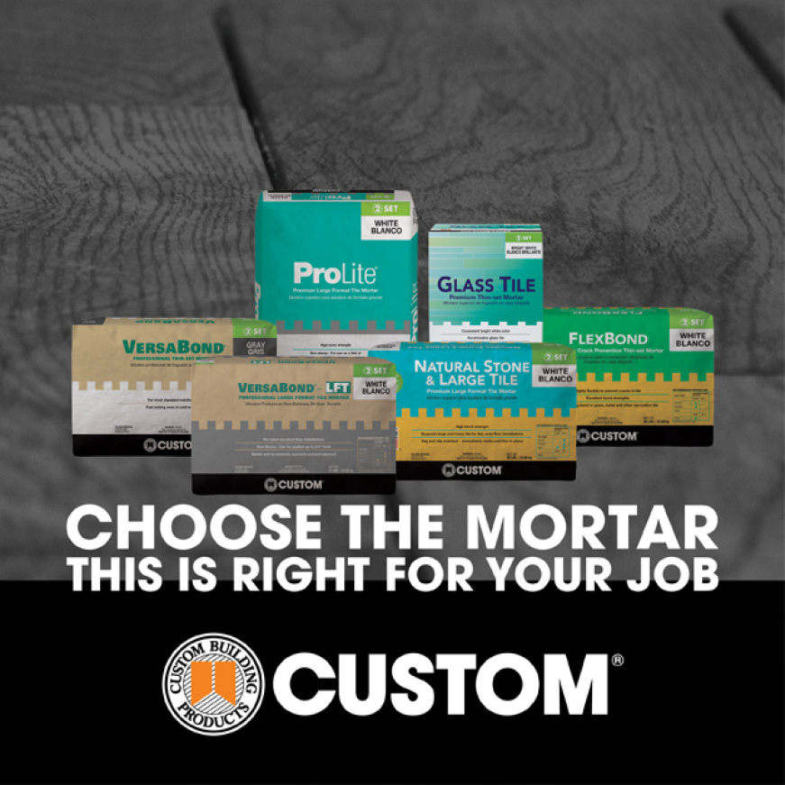Custom Building Products mortar packages