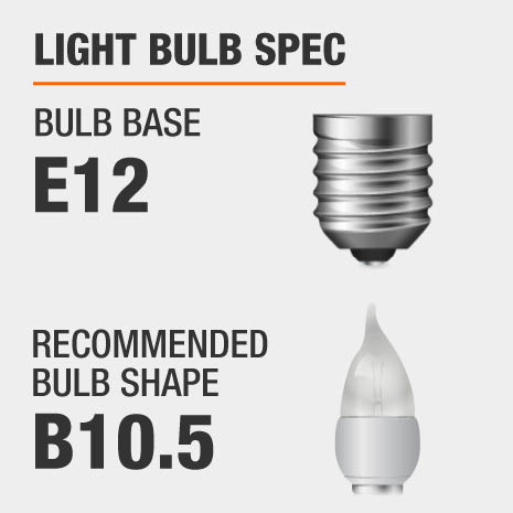 This chandelier requires a E12 bulb base, and a B10.5-shaped light bulb is recommended.